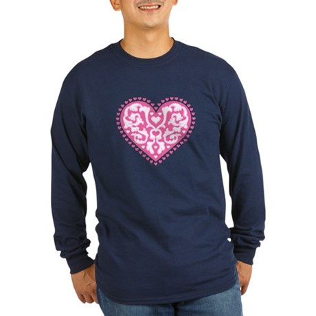 Fancy Heart Long Sleeve Dark T-Shirt