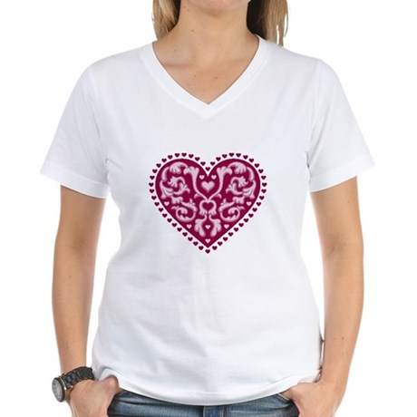Fancy Heart Women's V-Neck T-Shirt
