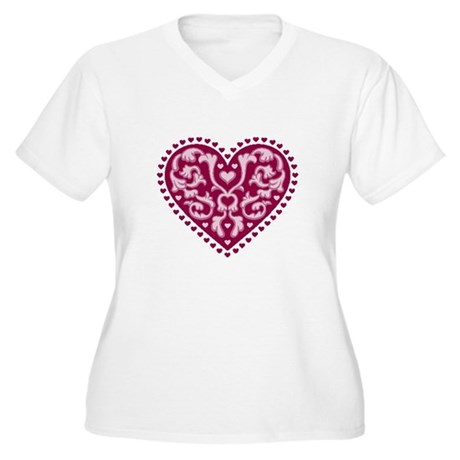 Fancy Heart Women's Plus Size V-Neck T-Shirt