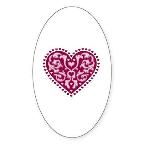 Fancy Heart Oval Sticker