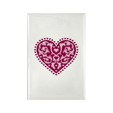 Fancy Heart Rectangle Magnet (100 pack)