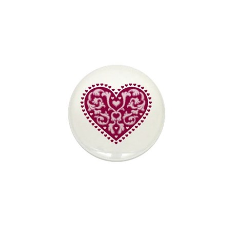 Fancy Heart Mini Button (100 pack)