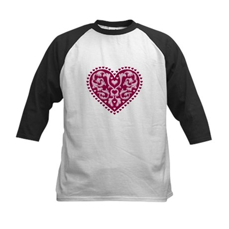 Fancy Heart Kids Baseball Jersey