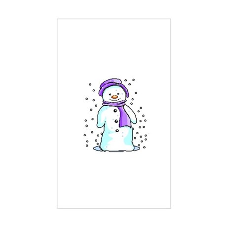 Happy Snowman Rectangle Sticker