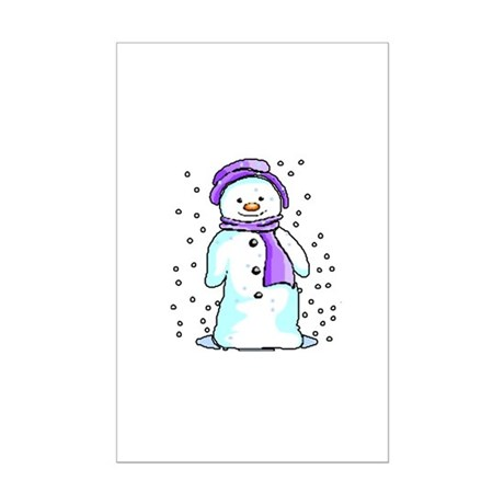 Happy Snowman Mini Poster Print