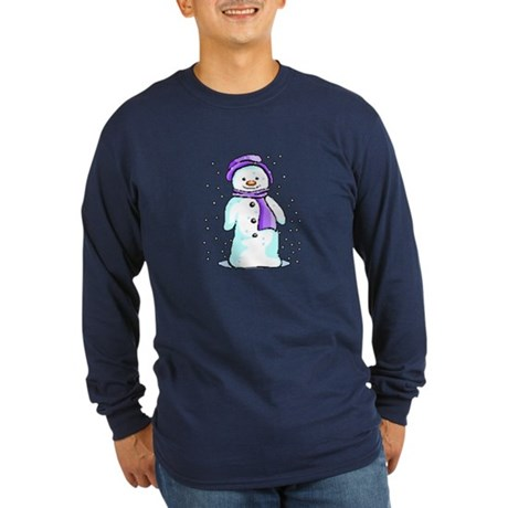 Happy Snowman Long Sleeve Dark T-Shirt