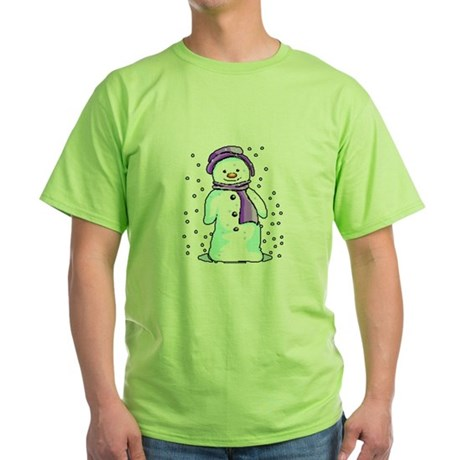 Happy Snowman Green T-Shirt