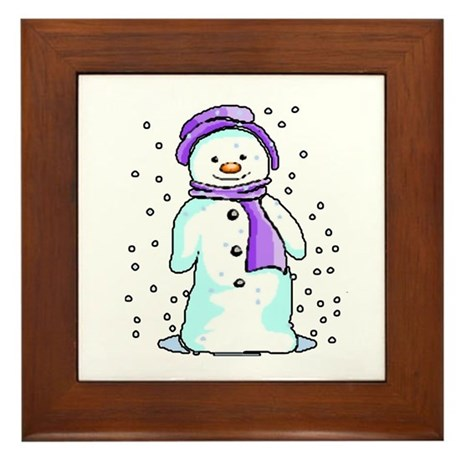 Happy Snowman Framed Tile