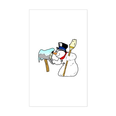 Mailbox Snowman Rectangle Sticker