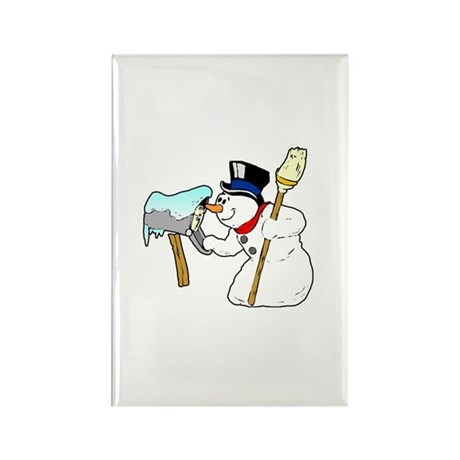 Mailbox Snowman Rectangle Magnet
