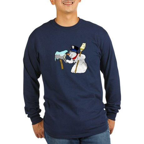 Mailbox Snowman Long Sleeve Dark T-Shirt