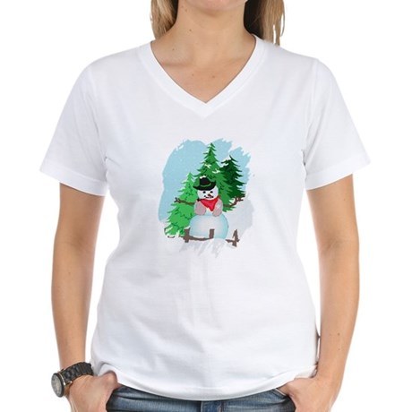 Forest Snowman Women's V-Neck T-Shirt