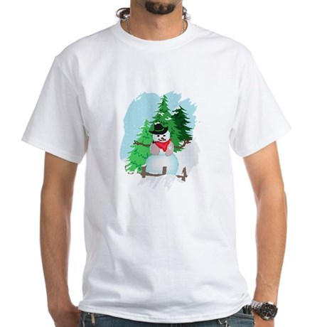 Forest Snowman White T-Shirt