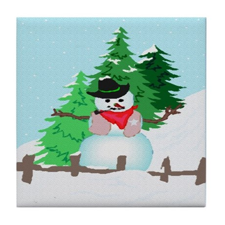 Forest Snowman Tile Coaster