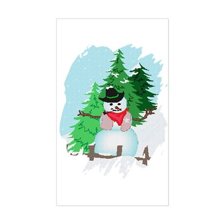 Forest Snowman Rectangle Sticker