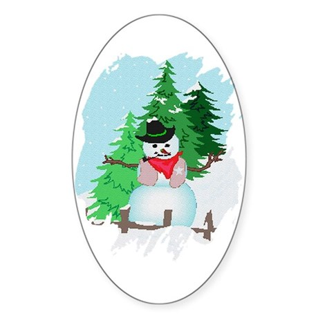 Forest Snowman Oval Sticker