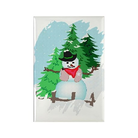 Forest Snowman Rectangle Magnet (10 pack)