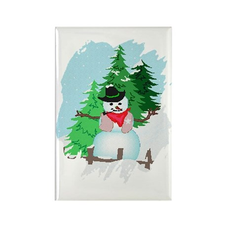 Forest Snowman Rectangle Magnet