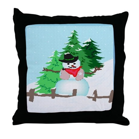 Forest Snowman Throw Pillow