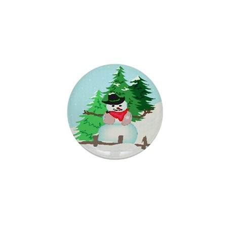 Forest Snowman Mini Button