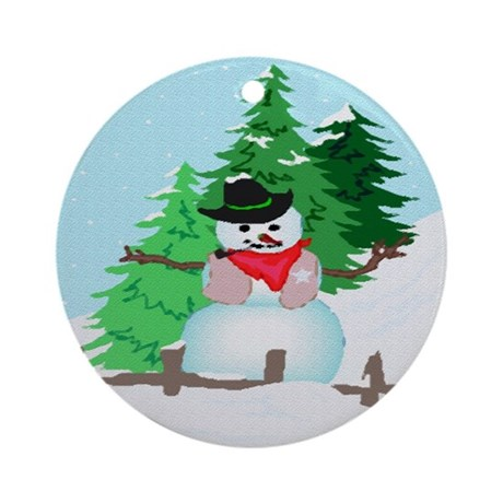 Forest Snowman Ornament (Round)