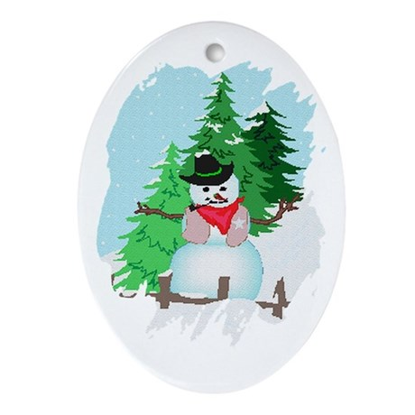 Forest Snowman Oval Ornament