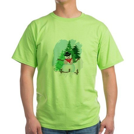 Forest Snowman Green T-Shirt
