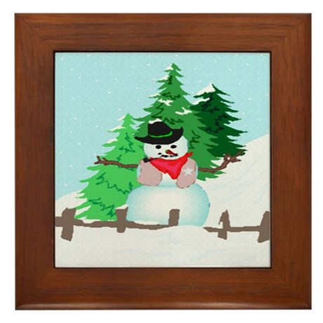 Forest Snowman Framed Tile