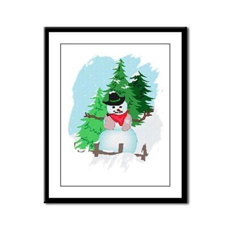 Forest Snowman Framed Panel Print