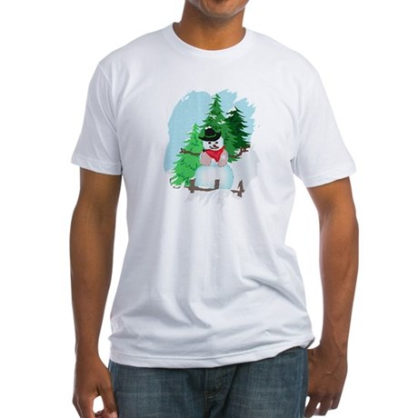 Forest Snowman Fitted T-Shirt