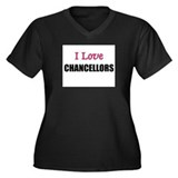 I Love CHANCELLORS Women's Plus Size V-Neck Dark T