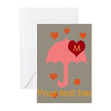 Red Dotted Umbrella Bright Hearts Dots Greeting Ca