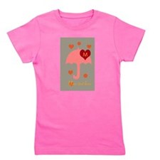 Red Dotted Umbrella Bright Hearts Dots Girl's Tee