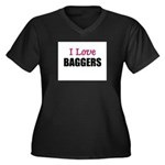 I Love BAGGERS Women's Plus Size V-Neck Dark T-Shi