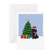 Black Poodle Christmas Greeting Card