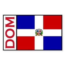 Dominican Republic Flag stick Sticker (Rectangular