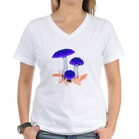 Blue Mushrooms Women's V-Neck T-Shirt