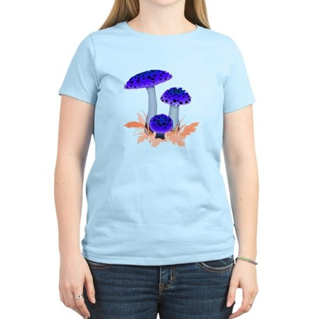 Blue Mushrooms Women's Light T-Shirt