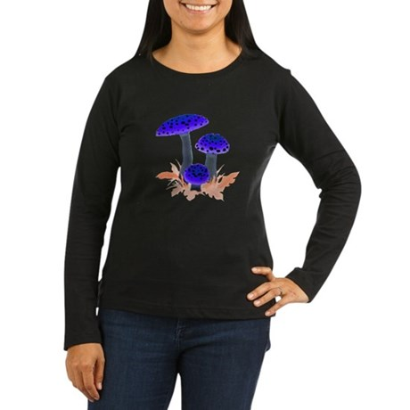 Blue Mushrooms Women's Long Sleeve Dark T-Shirt