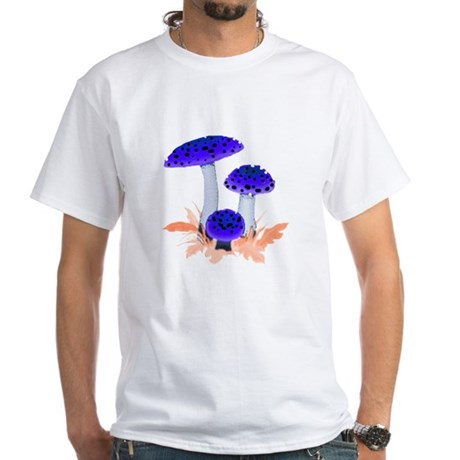 Blue Mushrooms White T-Shirt