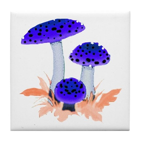 Blue Mushrooms Tile Coaster