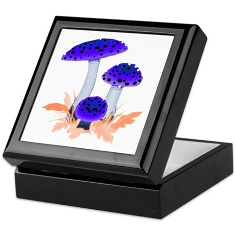 Blue Mushrooms Keepsake Box
