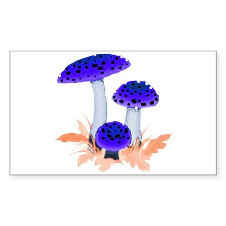 Blue Mushrooms Rectangle Sticker