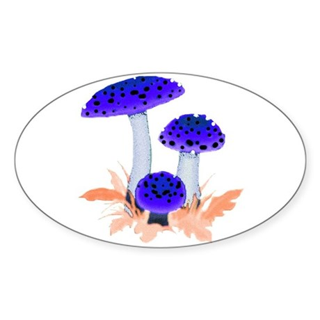 Blue Mushrooms Oval Sticker