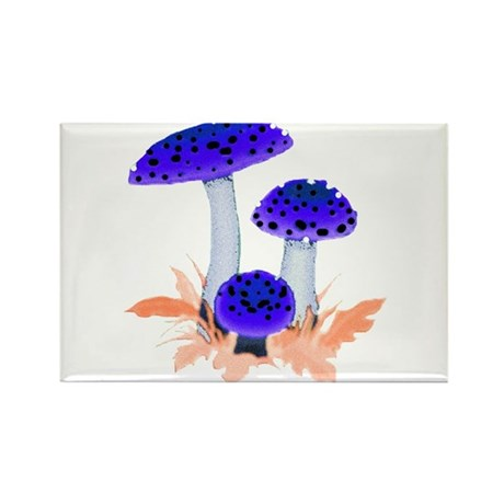 Blue Mushrooms Rectangle Magnet (100 pack)