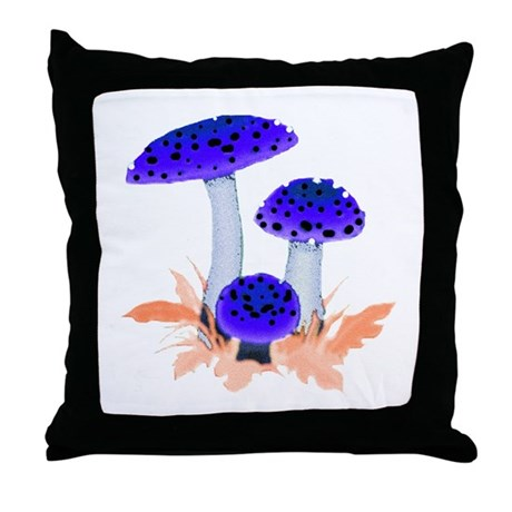 Blue Mushrooms Throw Pillow