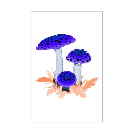 Blue Mushrooms Mini Poster Print