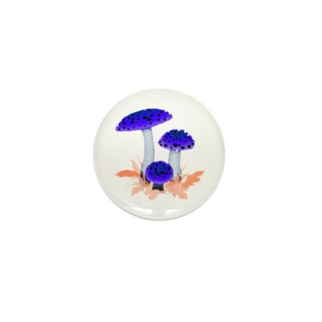 Blue Mushrooms Mini Button (10 pack)