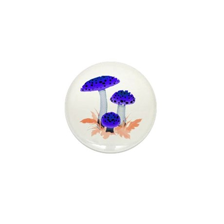 Blue Mushrooms Mini Button