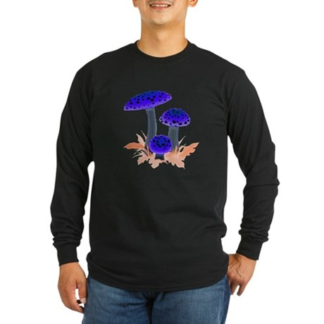 Blue Mushrooms Long Sleeve Dark T-Shirt